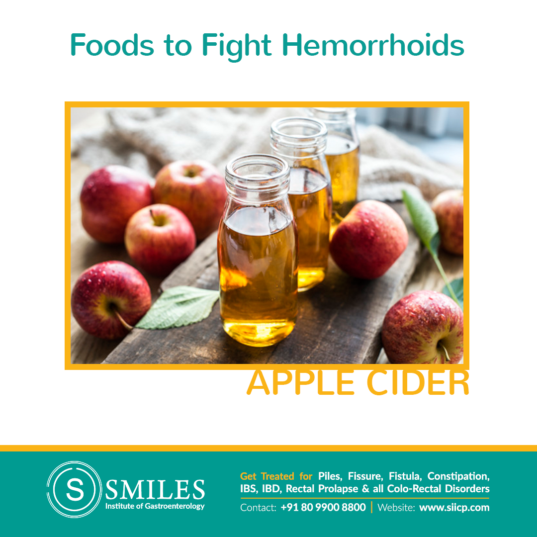 Apple Cider to Prevent Piles - It boasts an impressive amount of fiber that helps soften & bulk up stool & eases straining
