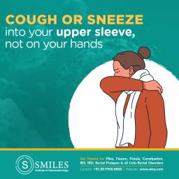 Cough or sneeze into your upper elbow