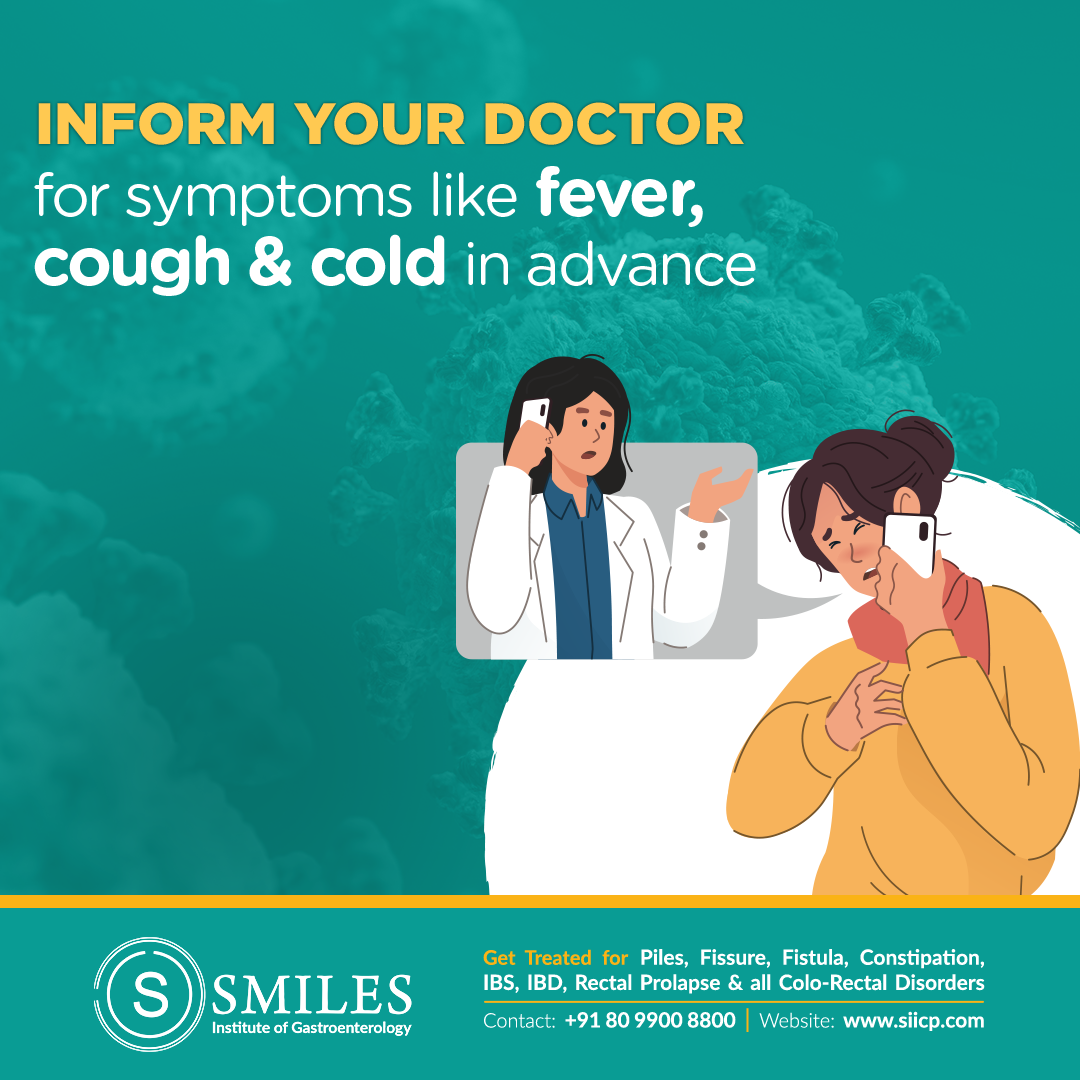 inform your doctor for fever, cough & cold -  Before you go to the doctor it will be helpful to inform the doctor about the details of the symptoms you are having like fever, cough & cold.  Doctor will take more care of you & help you what to do next. All this to prevent the spread of infection.